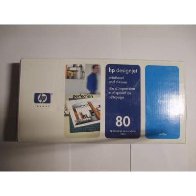 Genuine HP C4821A Cyan Printhead and Printhead Cleaner HP 80
